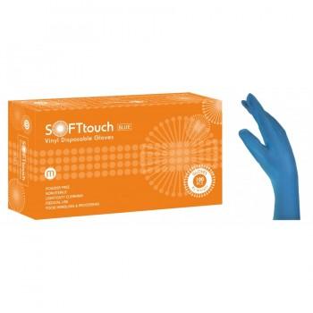 Γάντια βινυλίου Soft Touch, μπλε - χωρίς πούδρα 100τμχ.